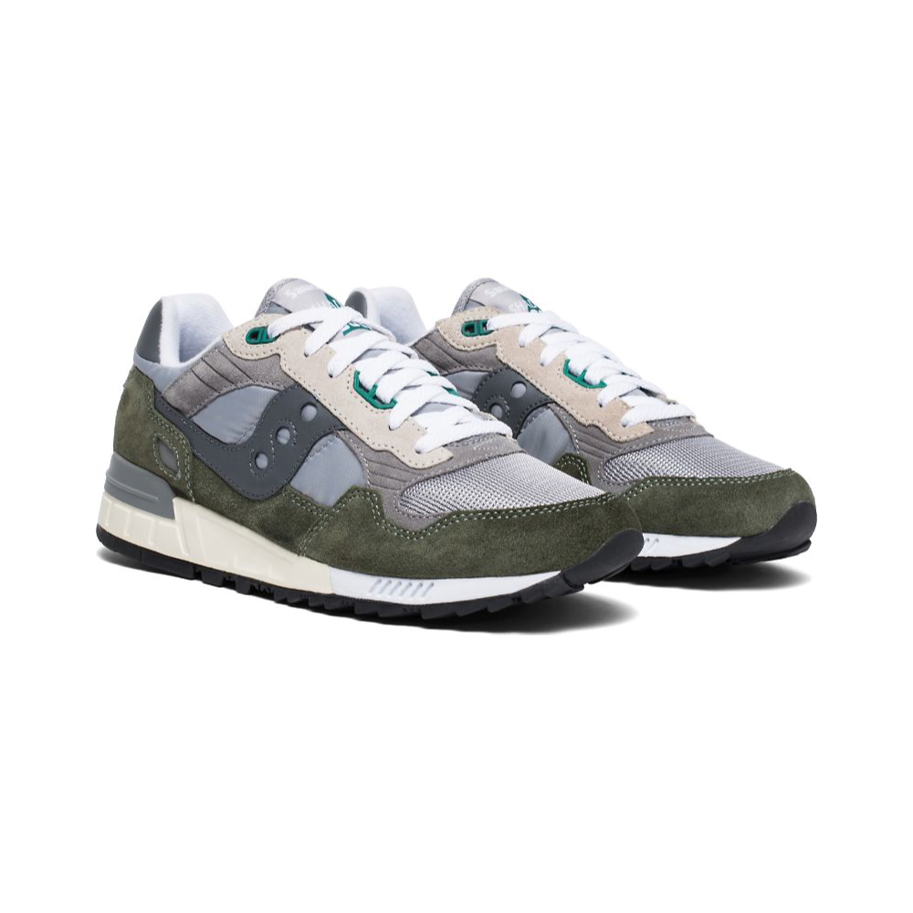 Saucony Shadow 5000 Vintage Color Green white laced close up slanted view against a white background