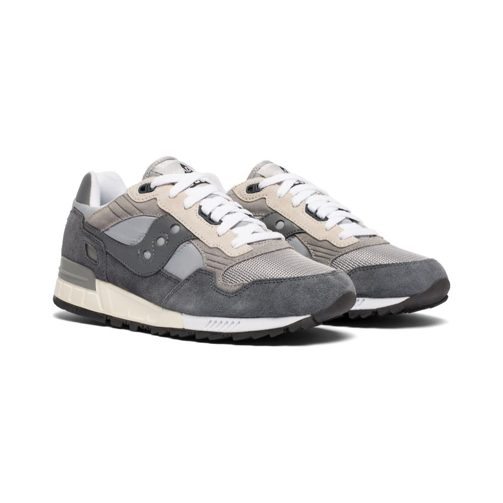 Saucony Shadow 5000 Vintage Color Grey white laced close up slanted view against a white background