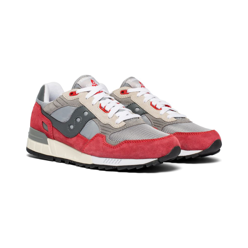 Saucony Shadow 5000 Vintage Color Red white laced slanted view against a white background