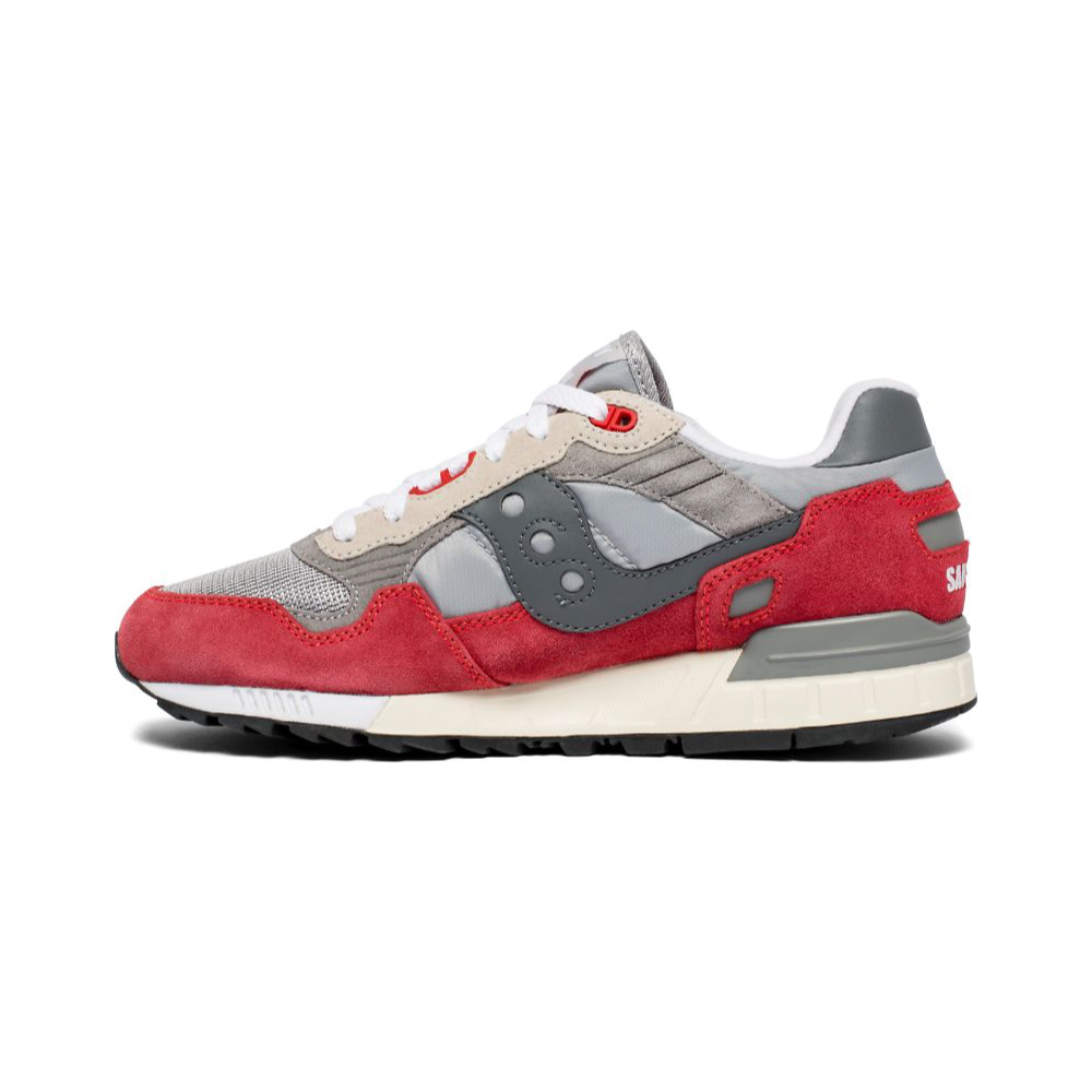 Saucony Shadow 5000 Vintage Color Red white laced close up side view against a white background